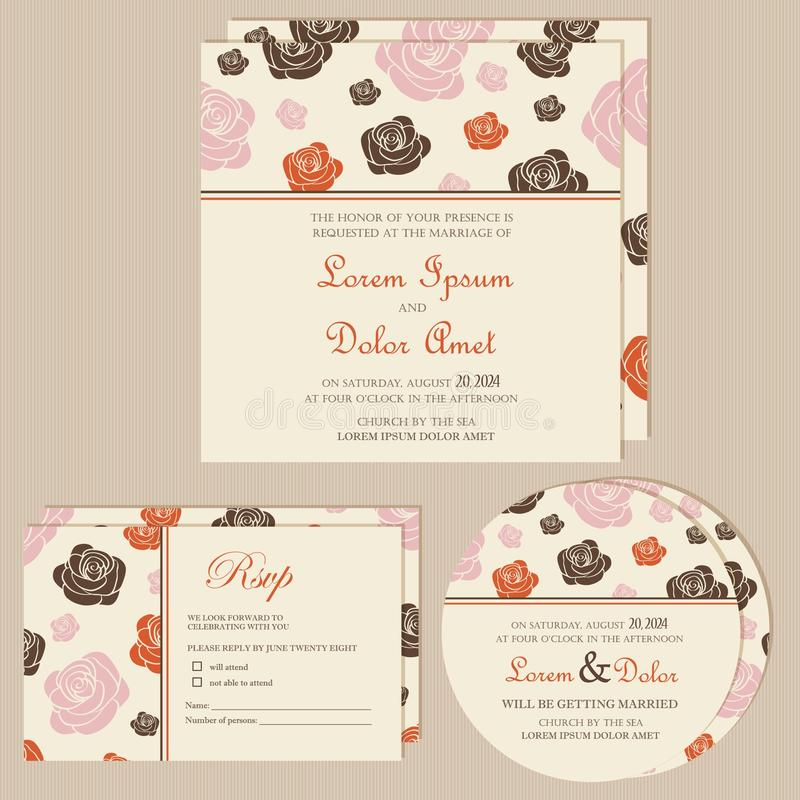 Set of wedding invitation cards or announcements. With beautiful flowers (invitation, save the date card, RSVP card). Vector illustration stock illustration