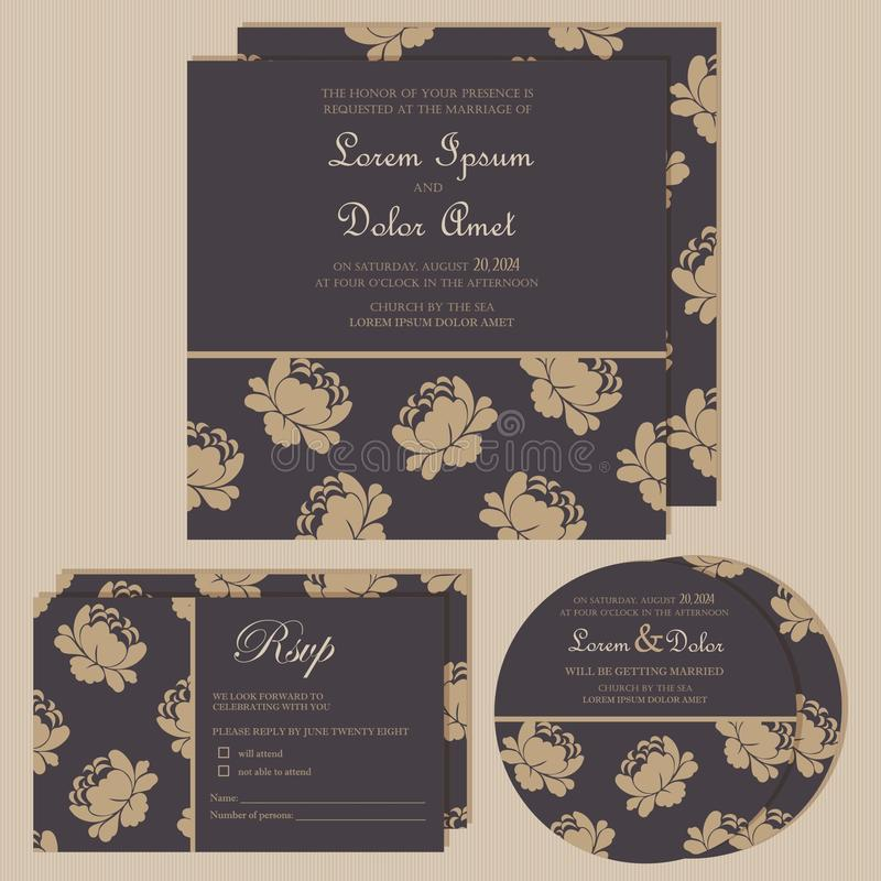 Set of wedding invitation cards or announcements. With beautiful flowers (invitation, save the date card, RSVP card). Vector illustration royalty free illustration