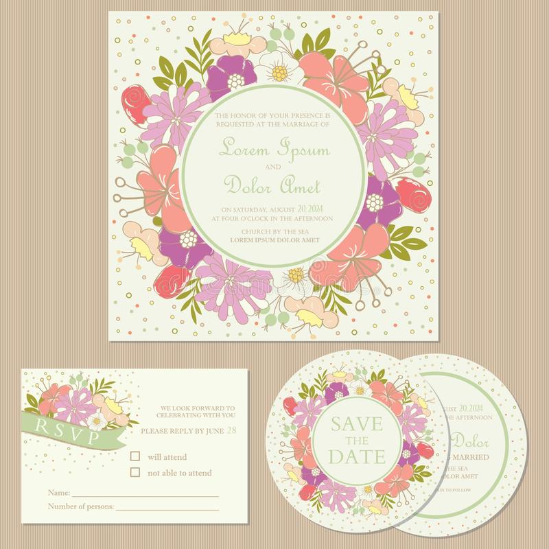 Set of wedding invitation cards or announcements with flowers. (invitation, save the date card, RSVP card royalty free illustration