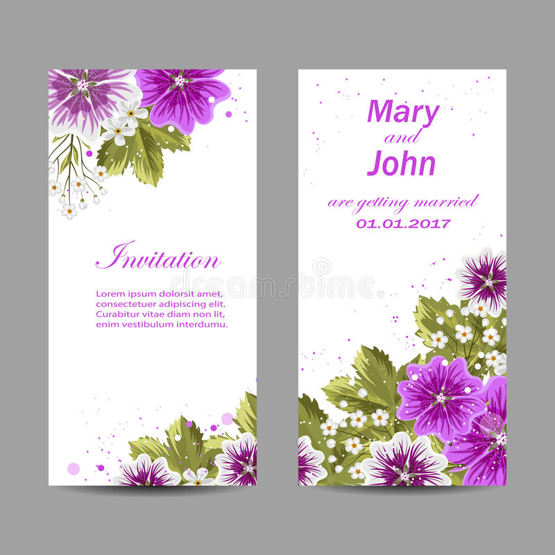 Set Of Wedding Invitation Cards Design Stock Vector Illustration