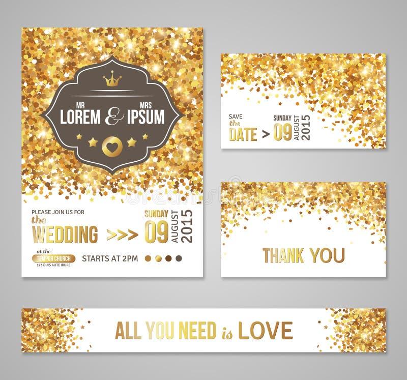 Set of wedding invitation cards design vector illustration