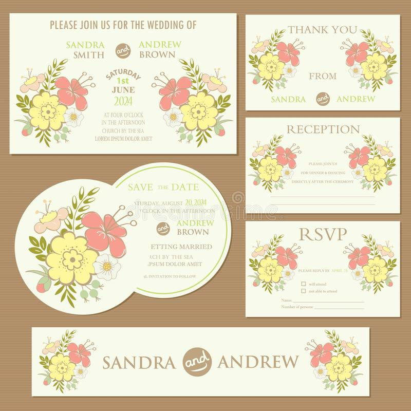 Set of wedding invitation cards with hearts. (invitation, thank you card, RSVP card, reception, save the date vector illustration