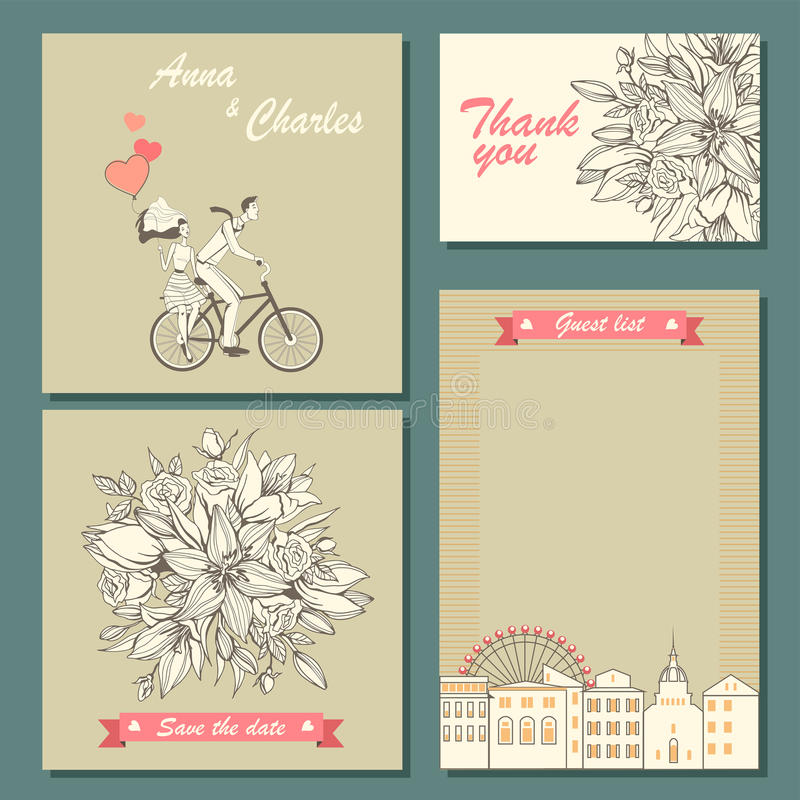 Set of wedding invitation cards and labels with a hand-drawn floral pattern and illustration of a couple on a bicycle. vector illustration