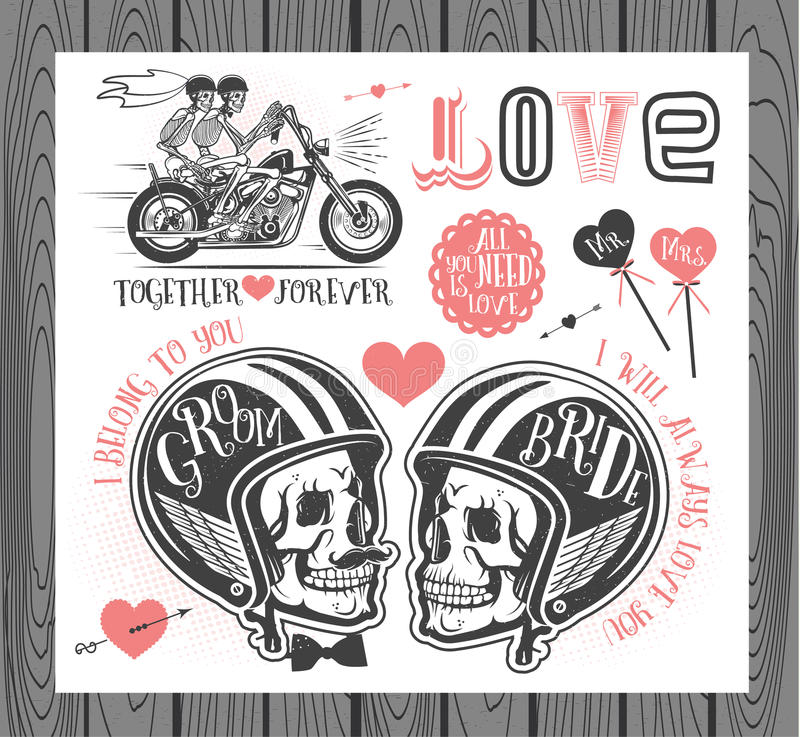 Set of wedding invitation design elements. Set of wedding invitation vintage design elements.Vector Illustration with Skulls of Bride and Groom royalty free illustration