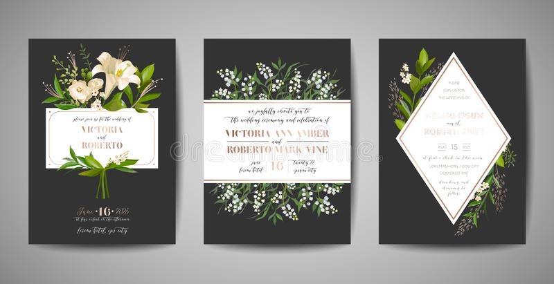 Set of Wedding Invitation, floral invite, thank you, rsvp rustic card design with gold foil decoration. Elegant modern template. Set of Wedding Invitation royalty free illustration
