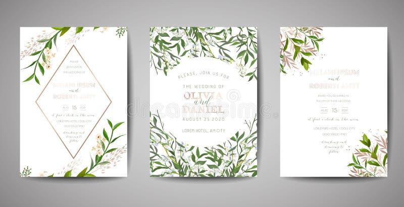 Set of Wedding Invitation, floral invite, thank you, rsvp rustic card design with gold foil decoration. Elegant modern template. Set of Wedding Invitation stock illustration