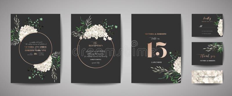 Set of Wedding Invitation, floral invite, thank you, rsvp rustic card design with gold foil decoration. Elegant modern template. Set of Wedding Invitation vector illustration