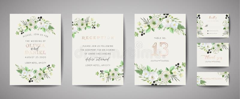 Set of Wedding Invitation, floral invite, thank you, rsvp rustic card design with gold foil decoration. Modern template, cover. Set of Wedding Invitation, floral royalty free illustration