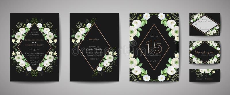 Set of Wedding Invitation, floral invite, thank you, rsvp rustic card design with gold foil decoration. Modern template, cover. Set of Wedding Invitation, floral stock illustration