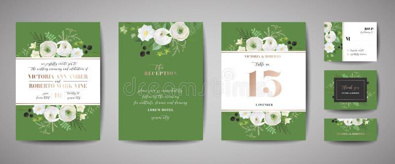 Set of Wedding Invitation, floral invite, thank you, rsvp rustic card design with gold foil decoration. Modern template, cover. Set of Wedding Invitation, floral vector illustration