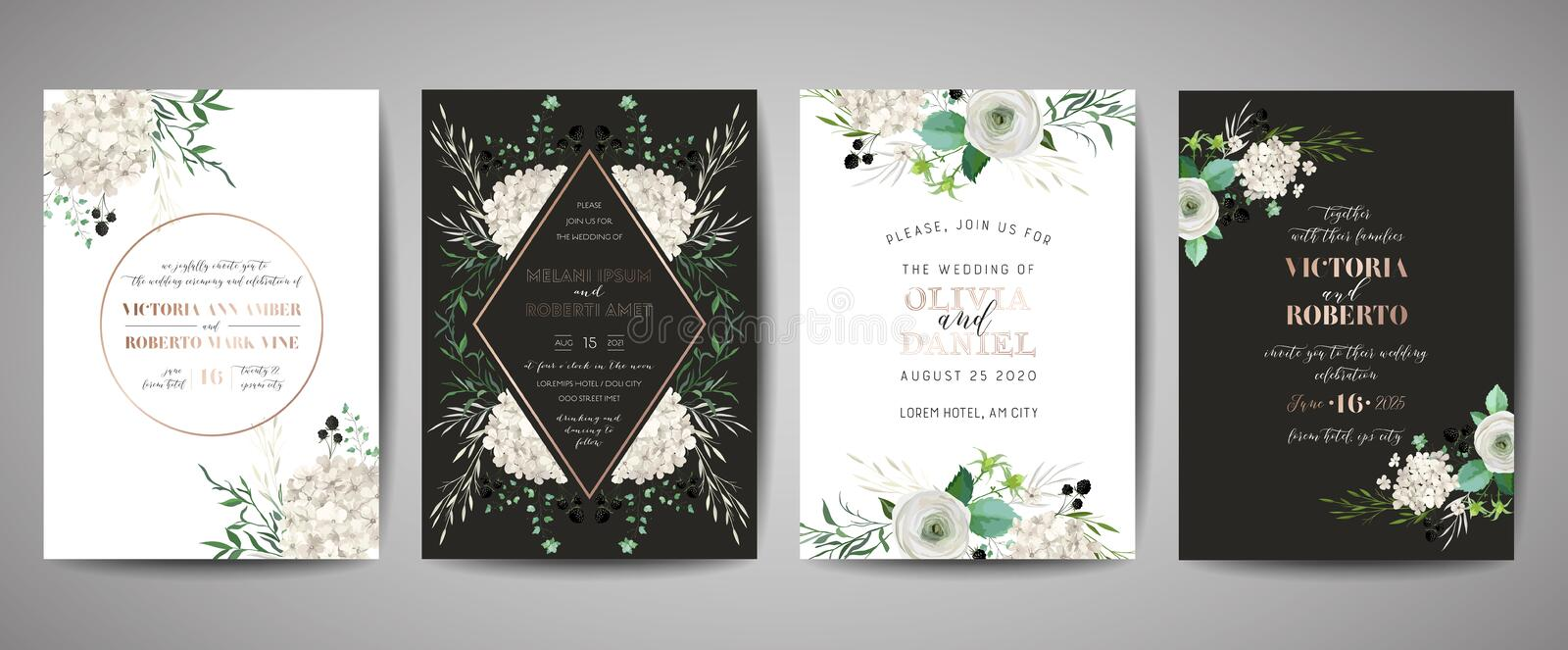 Set of Wedding Invitation, floral invite, thank you, rsvp rustic card design with gold foil decoration. Vector elegant template. Set of Wedding Invitation royalty free illustration