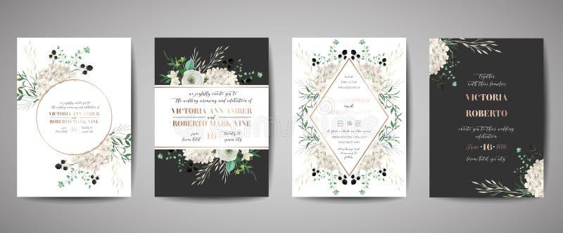 Set of Wedding Invitation, floral invite, thank you, rsvp rustic card design with gold foil decoration. Vector elegant template. Set of Wedding Invitation stock illustration