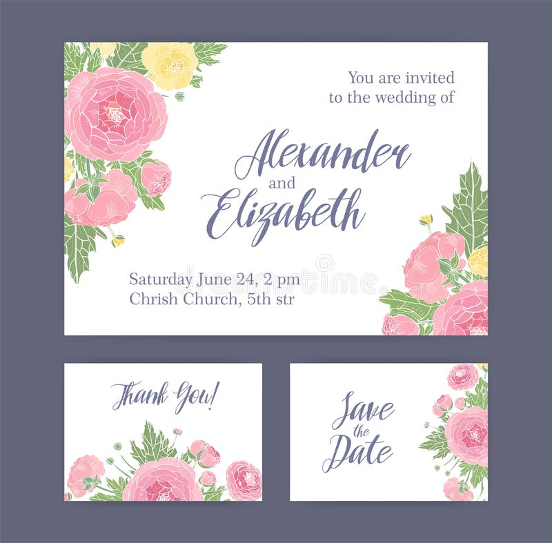 Set of wedding invitation save the date card and thank you note download set of wedding invitation save the date card and thank you note templates decorated stopboris Images