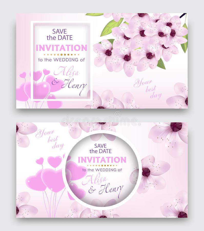 Set wedding invitation template or greeting card. Elegant background with cherry or sakura blossom flowers and balloon hearts. Vec stock illustration