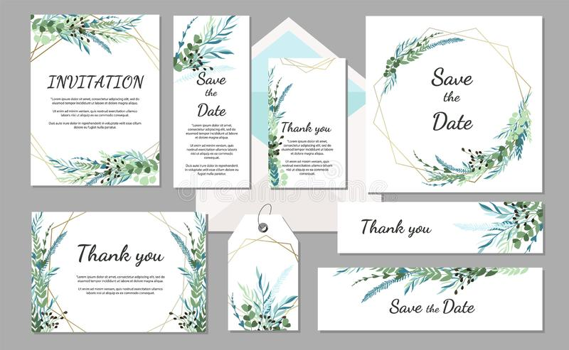 Set Wedding invitation vintage card with leaves and geometric frames. stock illustration