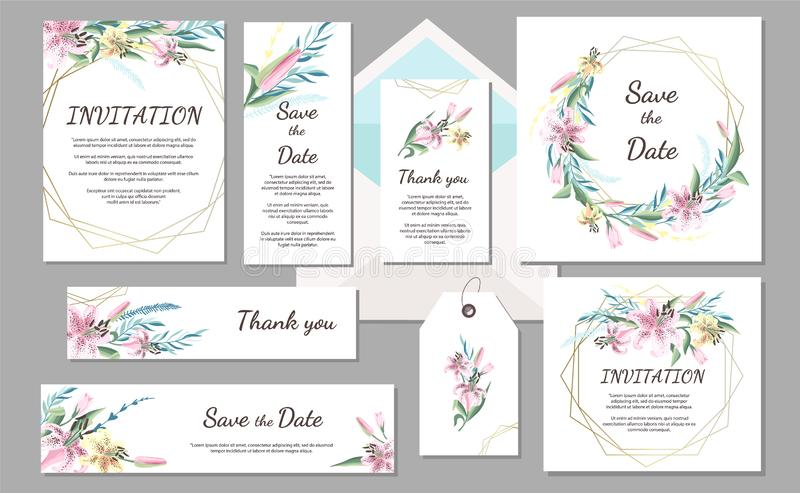 Set Wedding invitation vintage card with pink lily and geometric frames. Hand drawn flowers. vector illustration