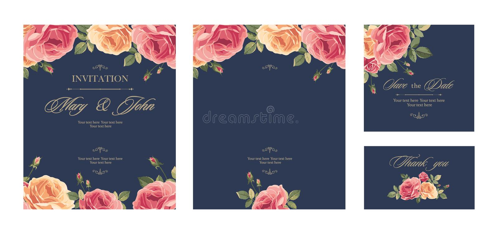 Set Wedding invitation vintage card with roses and antique decorative elements. stock illustration