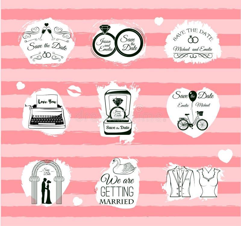 Set of wedding invitation vintage design elements,. Designers toolkit royalty free illustration