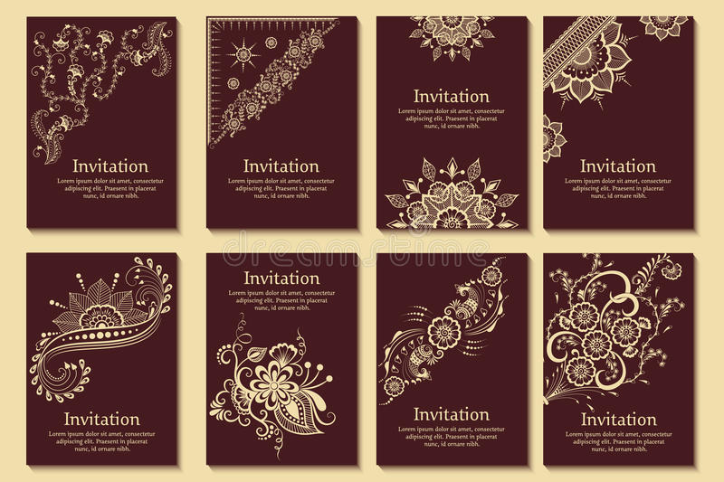 Set of wedding invitations and announcement cards with ornament in Arabian style. Arabesque pattern. stock illustration