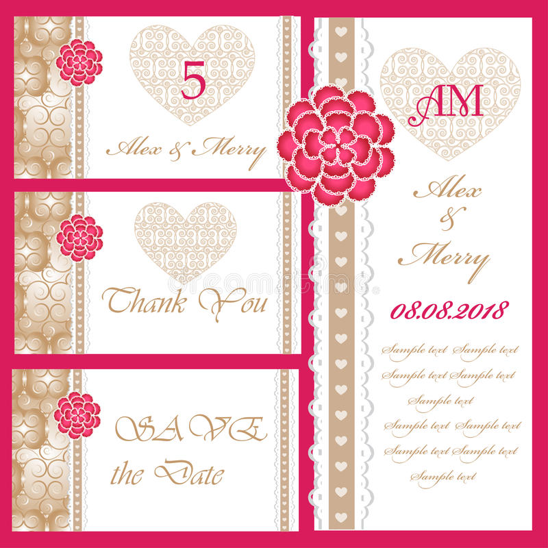 Download Set Of Wedding Invitations And Announcements Stock Vector - Illustration of element, save: 38564210