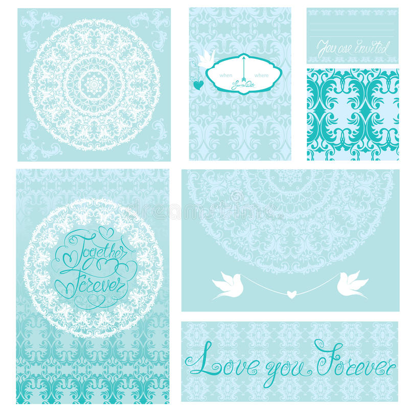Set of wedding invitations and announcements. With vintage background ornaments in blue colors stock illustration