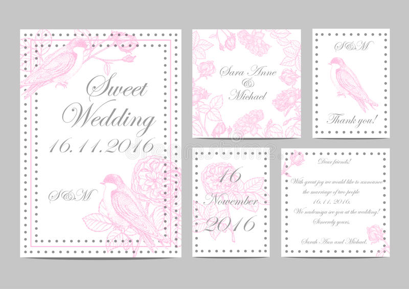 Set of wedding invitations to garden roses and birds. Handmade. illustration with flowers and swallows vector illustration