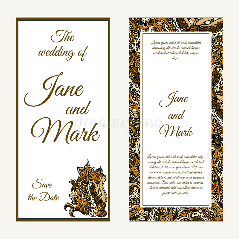 Set of wedding invitations. Wedding cards template stock illustration