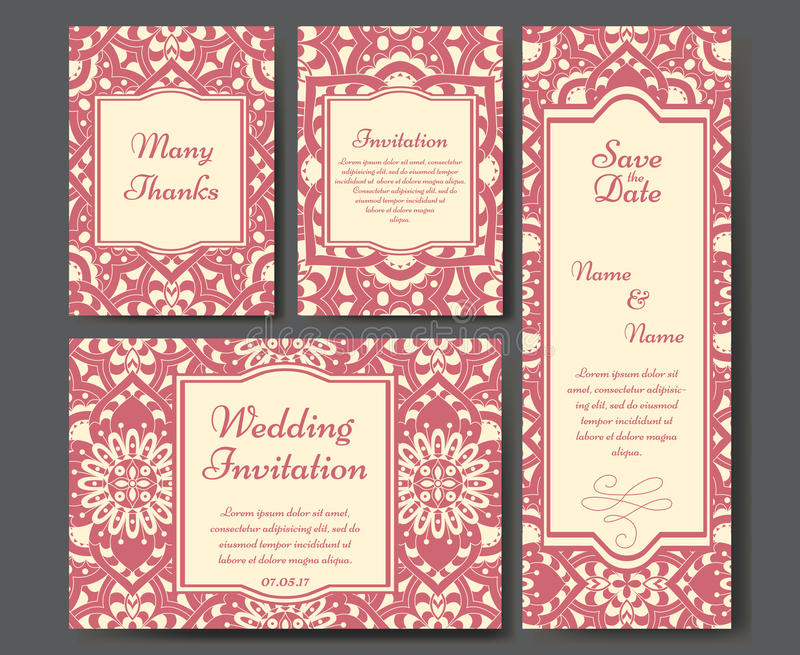 Set of wedding invitations. Wedding cards template with individual concept. Design for invitation, thank you card, save the date. Card royalty free illustration