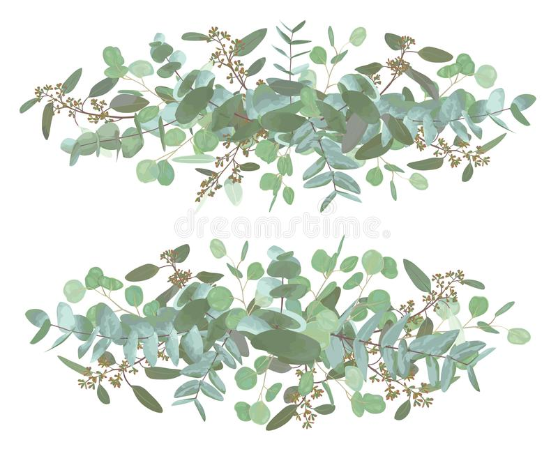 Set of wedding long bouquets. Elegant floral, greenery, collection. Bouquet of eucalyptus spiral, populus, robusta.All elements stock photo