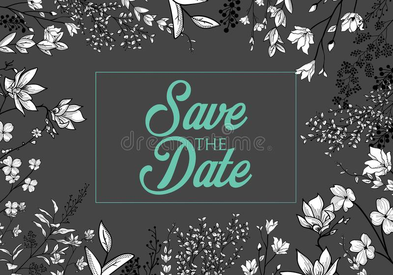 Set of wedding party invitation and Save The Date card templates with Lily of the valley flowers hand drawn with black contour lin vector illustration