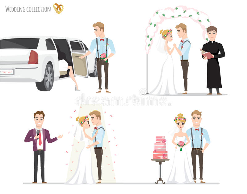 Set of wedding pictures, bride and groom in love stock illustration
