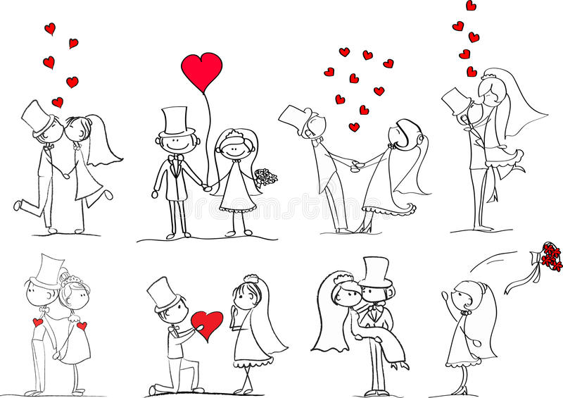 Set of wedding pictures, vector stock illustration