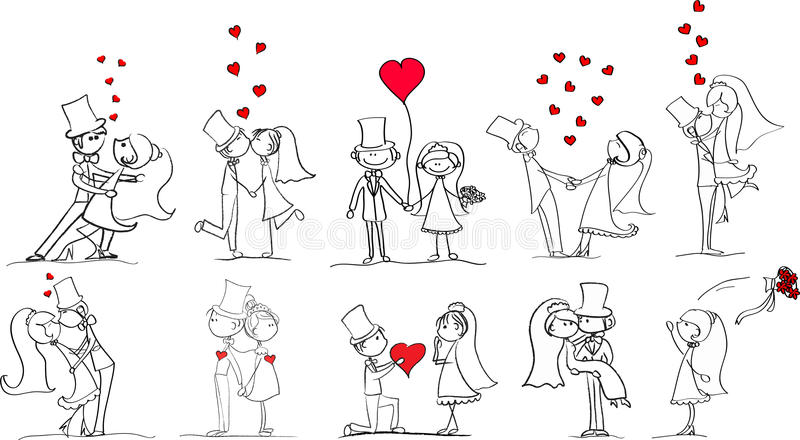 Set of wedding pictures vector vector illustration