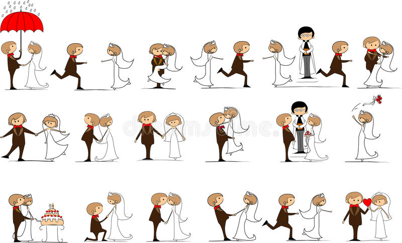 Set of wedding pictures, vector royalty free illustration