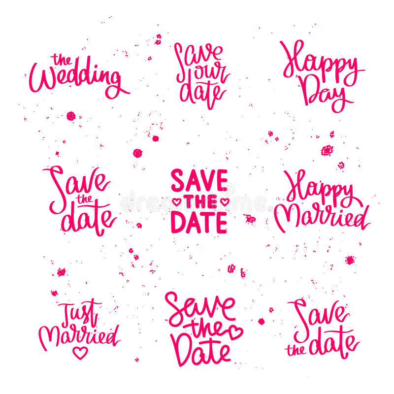 The Wedding Date Quotes: Set Wedding Quotes. Calligraphy Stock Vector