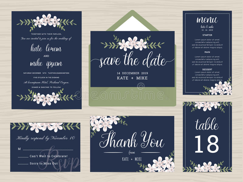 Set of wedding suite template decorate with flower in navy blue color. vector illustration