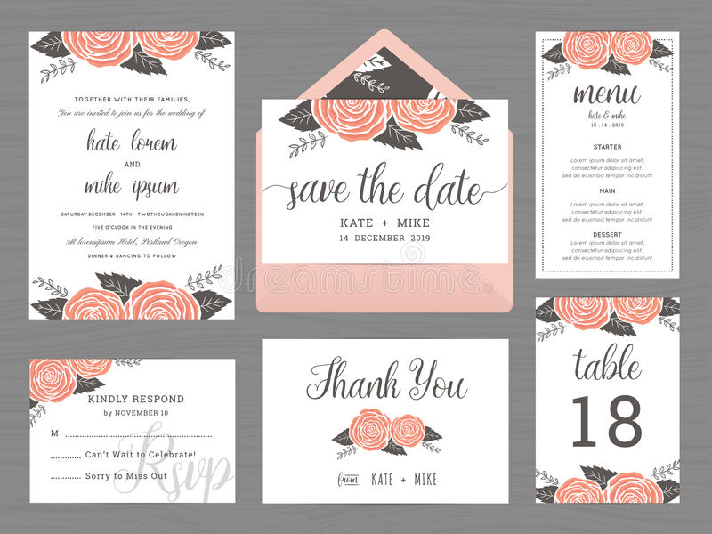 Set of wedding suite template decorate with rose flower. vector illustration