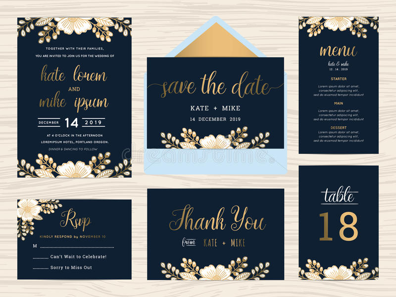 Set of wedding suite template decorate with wreath flowers. vector illustration