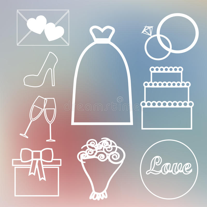 The set on a wedding theme in pastel shades stock photography