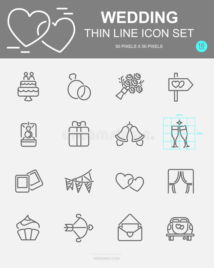 Set of Wedding Vector Line Icons. Includes rose, ring, cake, drink and more. 50 x 50 Pixel. Set of Wedding Vector Line Icons. Includes rose, ring, cake, drink stock illustration