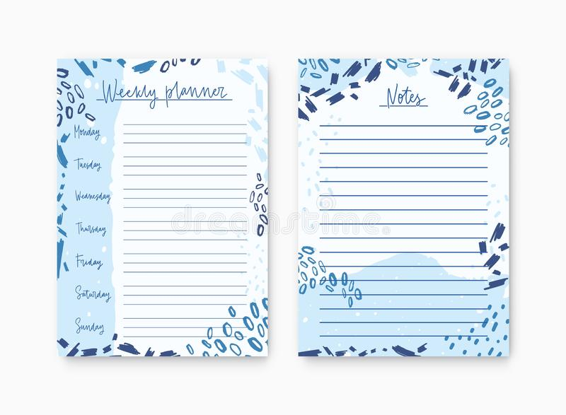 Set of weekly planner and list for notes templates decorated by abstract paint traces and scribble. Printable pages for. Diary or reminder for task organization stock illustration