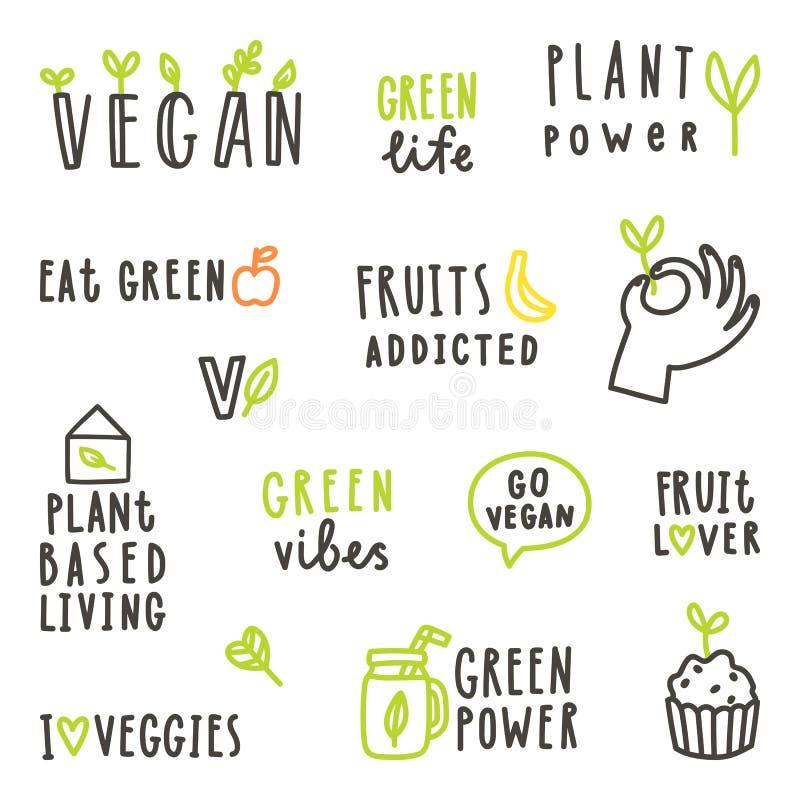 Set weganinu teksta znaki ilustracja wektor