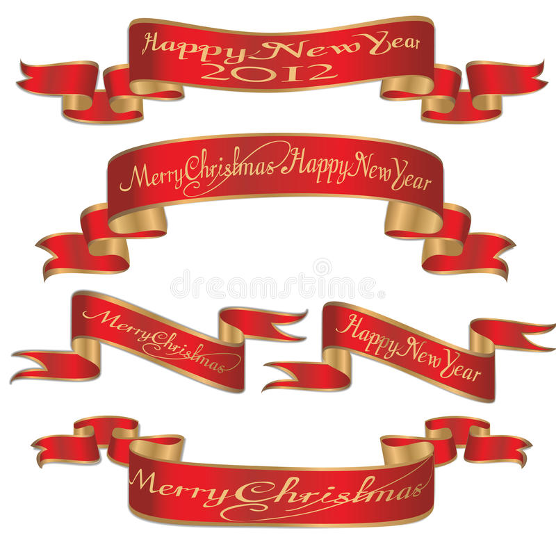 Set Weihnachten, Fahnenfarbbänder des Weihnachtsneuen Jahres lizenzfreie abbildung