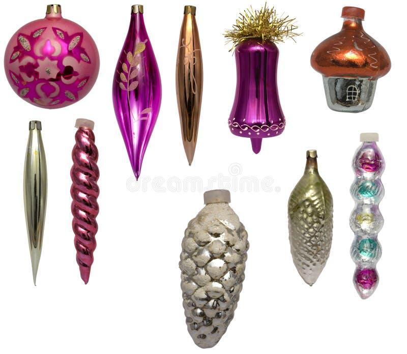 Set Weihnachtenbaum Dekorationen stockfotos