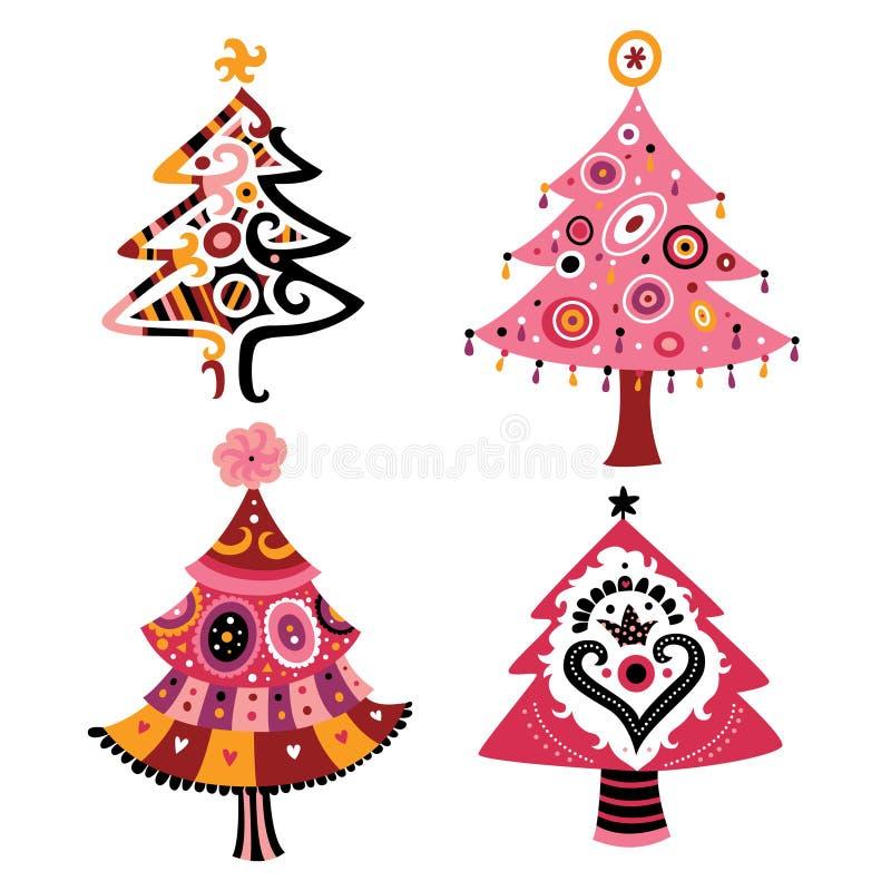 Set Weihnachtsbäume stock abbildung