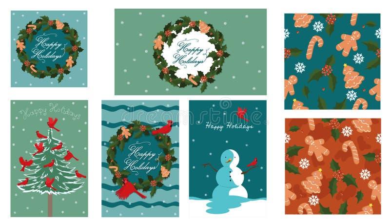 Set Weihnachtselemente Postkarten, Fahnen, Plakate, nahtlose Beschaffenheit Entwerfer Evgeniy Kotelevskiy vektor abbildung