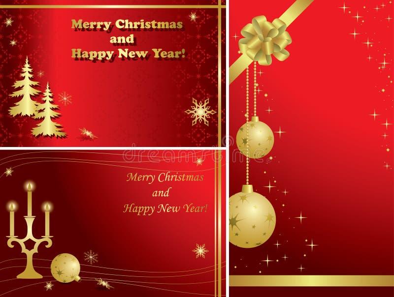 Set Weihnachtsfelder mit Golddekorationen lizenzfreie abbildung