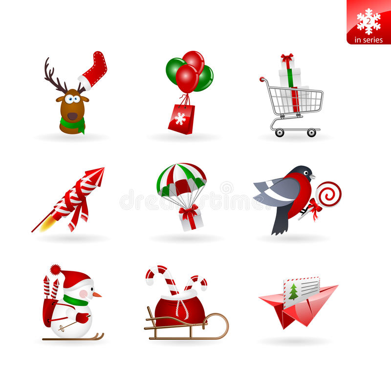 Set Weihnachtsikonen über Anlieferung und das Einkaufen stockbild