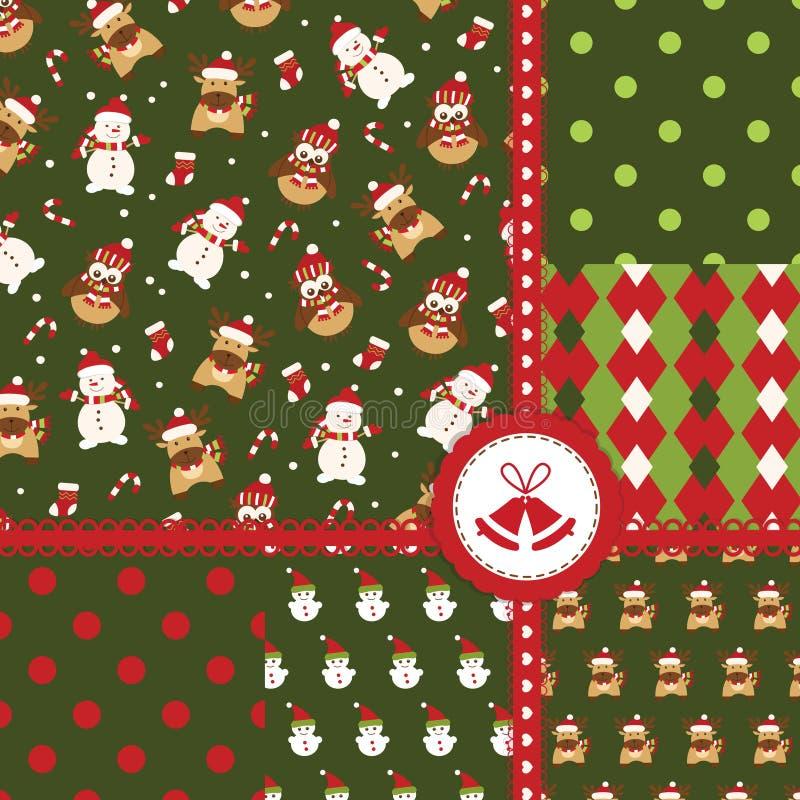 Set Weihnachtsnahtlose Muster lizenzfreie abbildung