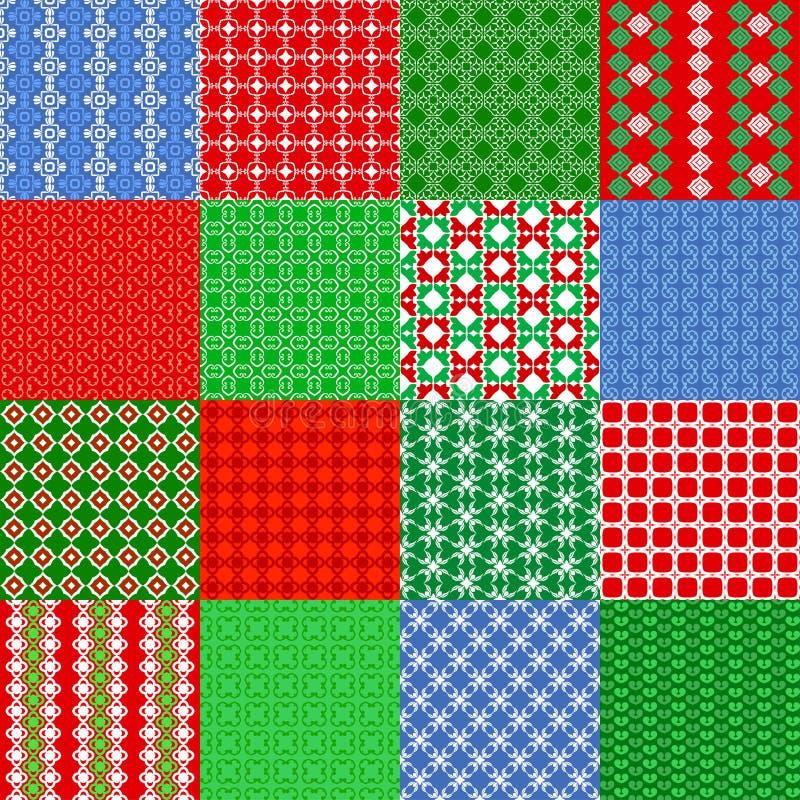 Set Weihnachtsnahtlose Muster Weinlese-Fliese, Vektor lizenzfreie abbildung